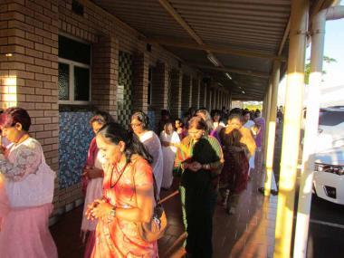 Devotees circumambulate the Sivananda Ghat singing Bhajans & Kirtans