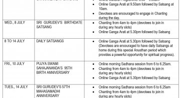 Schedule of Special Satsangs in July
