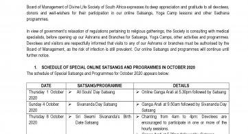 Schedule of Special Online Satsangs & Programmes in October 2020